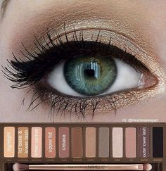 ✨Urban Decay Naked Palette 2 look✨ This simple shimmery gold look is beautiful for any eye color Kiss Makeup, Prom Makeup, Hair Makeup, Wedding Makeup, Bridal Makeup, Make Up Palette, Naked Palette, Naked2 Palette Looks, Urban Decay 2