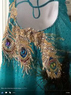 teal blue gold peacock modern applique crystal design dress