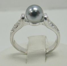 SOLID 925 STERLING SILVER LIGHT GRAY PEARL CUBIC ZIRCONIA SIZE 6.75 RING 2.1g #MJ #SolitairewithAccents