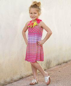 Fuchsia Stripe & Rosette Dress - Girls by Freckles + Kitty #zulily #zulilyfinds