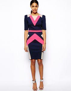 ASOS | River Island Color-Blocked 3/4 Sleeve Pencil Dress