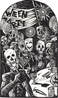 The Dance of Death by Kreg Yingst  From the collection of Richard Sica The Linocut Dance of Death - 50 Watts