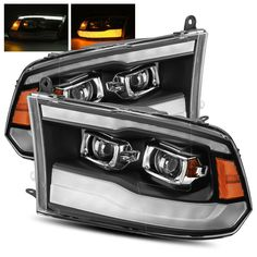 For 09-18 Ram 1500/10-18 2500/3500 Black DRL/LED Tube Dual Projector Headlights #RacerInnovation