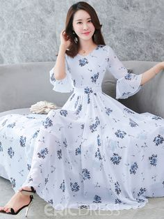 Women's Floral Flare Sleeve Swing Dress – Floral Print V Neck Summer Blue Wh… 2019 Cheap Maxi Dresses, Stylish Dresses, Cute Dresses, Casual Dresses, Summer Dresses, Women's Dresses, Plus Size Maxi Dresses, Full Length Dresses, Floral Dresses