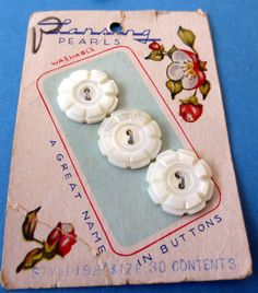Vintage Set of 3 Carved Mother of Pearl Sewing Buttons Original Art Card Crafts Scrapbooking Embellishments. $8.00, via Etsy.