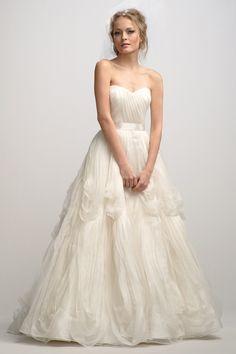 Unique Ruffled Ball Gown Strapless Organza Wedding Dress JSWD0334