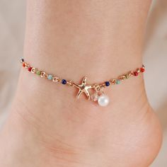 Anklets Jewelry Starfish and Pearl Chain Link Anklet - Starfish and Pearl Chain Link Anklet Length: Extension: Imitation Pearl Anklet Jewelry, Beaded Anklets, Beaded Bracelets, Jewellery, Coin Pendant Necklace, Shell Pendant, Bohemian Jewelry, Tattoos Realistic, Small Tattoos