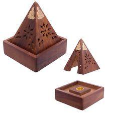 Decorative Sheehsam Wood Incense Cone Pyramid Box Holder Joss Sticks Cones