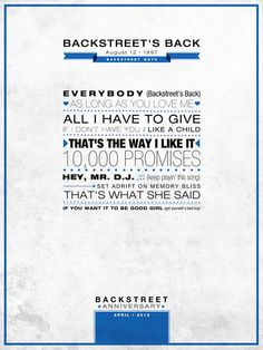 """Backstreet´s Back"" Poster Backstreet Anniversary - #type #poster #backstreetboys #bsb"