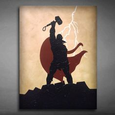 Thor Canvas Art | Painted using stencils, coffee