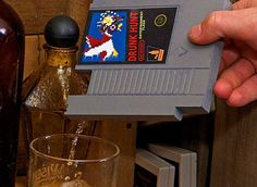 Ink Whiskey Drunk Hunt Concealable Entertainment Flask - Nintendo with a buzz.