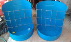 barrel feeders from recycled items... genius!