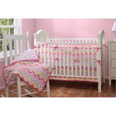 Baby Boom Zig Zag Reversible 4pc Crib Bedding Set