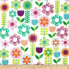 Michael Miller Busy Bee Small World Floral Pink - Discount Designer Fabric - Fabric.com