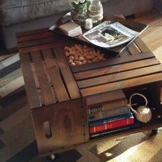 wood crate table. love this for out by the pool.