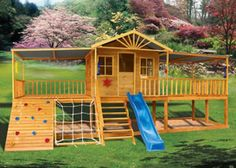 Sandalwood #cubbyhouse is an all round winner. It's large and spacious with covered deck and two covered verandah's, a rock climbing wall, stairs, climbing net and plenty of space underneath for a sandpit  Price: $3697.00 Size:7200 x 2400