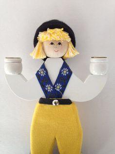Swedish Folk Art Boy Candleholder / Wonderful by VintageByBeth, $24.00