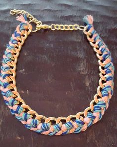 Blue turquoise and Coral Gold Braided Chain by FindingLifeDesigns
