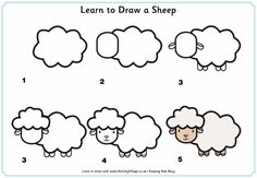 Learn to draw a sheep tutorial for kids