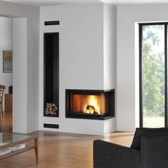 Find out all of the information about the ROCAL product: closed wood hearth / corner / metal G 30 LD . Contact a supplier or the parent company directly to get a quote or to find out a price or your closest point of sale. Home Fireplace, Modern Fireplace, Living Room With Fireplace, House Construction Plan, Living Room Tv Unit Designs, Inside Home, Sims House, Hearth, Home Interior Design