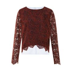 Carven Two-Tone Floral Lace Top ($170) ❤ liked on Polyvore featuring tops, floral lace top, carven top, slash neck top, floral print tops and lace boat neck top