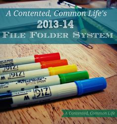 A Contented, Common Life's Weekly File Folder System {Free Printable}