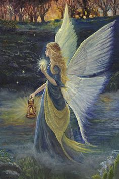 Fairy At Twilight Painting - Fairy At Twilight Fine Art Print Fairy Pictures, Angel Pictures, Fantasy Kunst, Fantasy Art, I Believe In Angels, Angels Among Us, Beautiful Fairies, Angel Art, Fairy Art