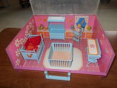 RARE Vintage 1960's BABY JOY'S TINYROOM Portable Doll Play Set by ELDON
