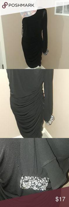 Deb Shops One Shoulder Black Accented Cuff Dress Deb brand  Size 1x Deb Dresses