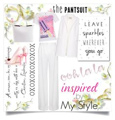 """""""The Pantsuit"""" by fashionscherry ❤ liked on Polyvore featuring Dolce&Gabbana, La Mania, Moschino, Sophia Webster, N°21 and thepantsuit"""