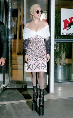 Street Scare from Fashion Police  Lady Gaga causes quite the fright on the streets of Paris in a zany outfit that includes an outrageous Mary Katrantzou dress paired with dangerous platform boots. Nevertheless, it's nice to know our Mother Monster still hasn't changed.