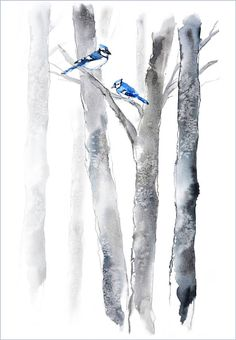 Tree Artwork, Birch Tree Painting, Gray, Black, Blue Art Print, Watercolor Painting, Bird Painting, 12x16, Forest Painting, Forest Wall Art