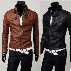 Men's leather jackets.  Looks slimming, along with an interesting shoulder/chest cut