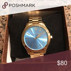 Michael Kors watch year old MK watch. Discounted for age. Gold band with turquoise blue face. Only worn handful number of times. All it needs is a new battery. Mk Watch, Gold Watch, Michael Kors Gold, Michael Kors Watch, Gold Bands, Belize, Age, Number, Turquoise