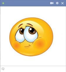 Blushing smiley face - Send your friends this shy Facebook smiley so they know that sometimes it's hard to put your feelings into words!