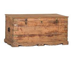 Baúl antiguo de madera de mango - marrón