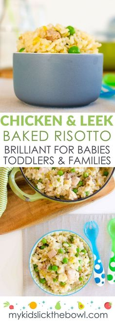 Chicken and Leek baked risotto a great baby food idea and family meal. Perfect kid friendly lunch or dinner