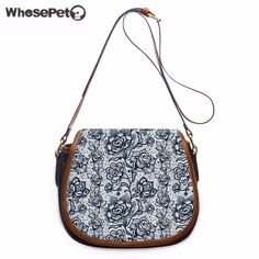 WHOSEPET New Satchel Handbag Vintage Single Shoulder Bag For Girls Cross Body Purse Women Fashion Flowers Printing Satchel Bags