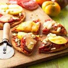 Summer Vegetable Pizzettes: Roast fresh tomatoes, onion, sweet pepper ...