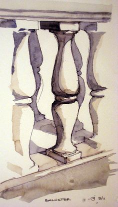 A quick study of repeating balusters. Architecture Concept Drawings, Watercolor Architecture, Architecture Sketchbook, Watercolor Paintings For Beginners, Painting Techniques, Watercolor Art, A Level Art Sketchbook, Greek Art, Urban Sketching