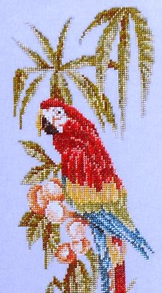Just Cross Stitch SCARLET MACAW Bird Parrot - Counted Cross Stitch Pattern Chart - Marie's Garden