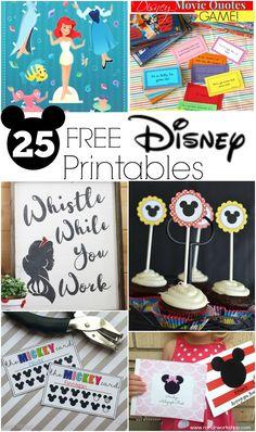 25 Free Disney Printables for parties, school or fun!