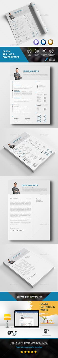 Clean Resume by DesignsTemplate This is Clean Resume & Cover Letter template . College Resume Template, Resume Cover Letter Template, Simple Resume Template, Letter Templates, Resume Templates, Cv Template, Cv Web, Resume Words Skills, Good Resume Examples