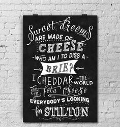 Chalkboard ArtKitchen Art Greatest Cheese by TimelessMemoryPrints, $20.00