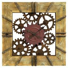 "Metal wall clock with an openwork gear design and weathered wood frame.   Product: Wall clockConstruction Material: Wood and metalColor: NaturalFeatures:  Quartz movementIndustrial stylingDimensions: 28"" H x 28"" W x 1.5"" D"
