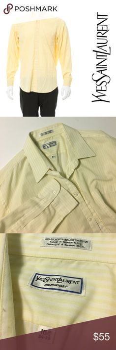 Yves Saint Laurent • Yellow striped Oxford shirt YSL pastel yellow and white striped Oxford style button down dress shirt. Lightweight. Collared. Size 16 1/2 34-35. Polyester and cotton. Made in Taiwan. Light wear throughout, good condition. Similar to cover photo but there is a light stripe pattern. Front breast pocket. Yves Saint Laurent Shirts Casual Button Down Shirts