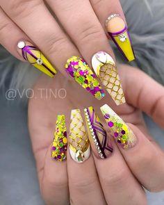 54 Awesome Acrylic Coffin Nails Design Ideas For Fall - Summer Acrylic Nails Colorful Nail Designs, Beautiful Nail Designs, Cute Nail Designs, Summer Acrylic Nails, Summer Nails, Coffin Nails Matte, Stiletto Nails, Uñas Fashion, Nail Length