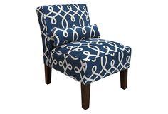 One Kings Lane Bergman Armless Chair, Navy/White
