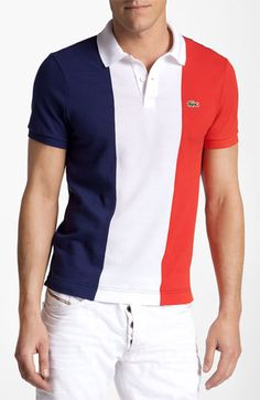 Lacoste 'France Flag' Piqué Polo   Nordstrom Lacoste, Polo Shirt Design, France Flag, Mens Fashion, Fashion Outfits, Clothes Horse, Shirt Designs, Polo Ralph Lauren, Nordstrom