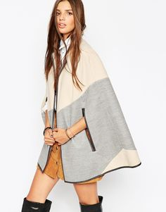 ASOS COLLECTION ASOS Diagonal Cape With Leather Look Trim